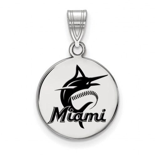 Miami Marlins Sterling Silver Medium Enameled Disc Pendant