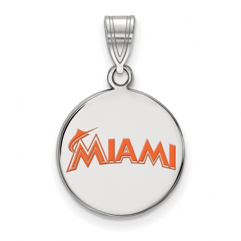 Miami Marlins Sterling Silver Medium Enameled Disc Pendant