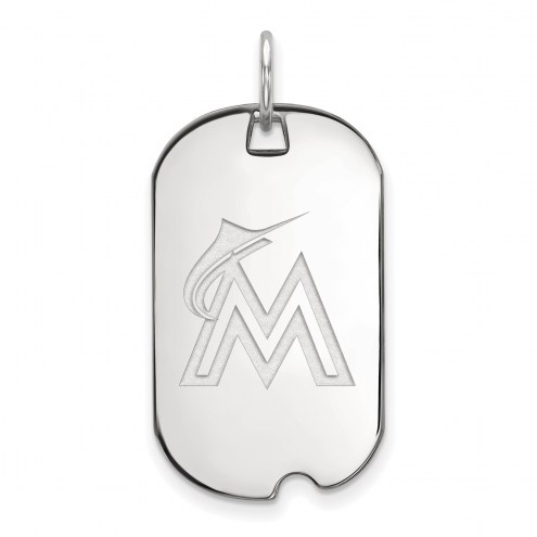 Miami Marlins Sterling Silver Small Dog Tag