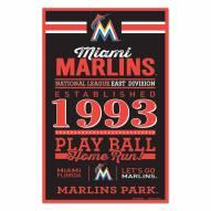Miami Marlins Established Wood Sign