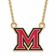 Miami of Ohio RedHawks Sterling Silver Gold Plated Large Enameled Pendant Necklace