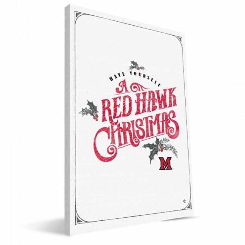 "Miami of Ohio Redhawks 8"" x 12"" Merry Little Christmas Canvas Print"