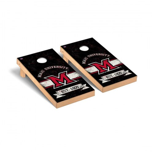 Miami of Ohio RedHawks Banner Vintage Cornhole Game Set