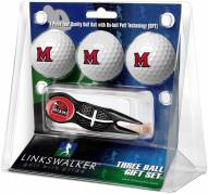 Miami of Ohio Redhawks Black Crosshair Divot Tool & 3 Golf Ball Gift Pack
