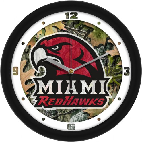 Miami of Ohio Redhawks Camo Wall Clock