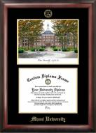 Miami of Ohio RedHawks Gold Embossed Diploma Frame with Campus Images Lithograph