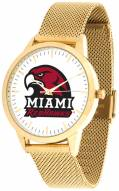Miami Of Ohio Redhawks Gold Mesh Statement Watch