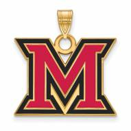 Miami of Ohio RedHawks Sterling Silver Gold Plated Large Enameled Pendant