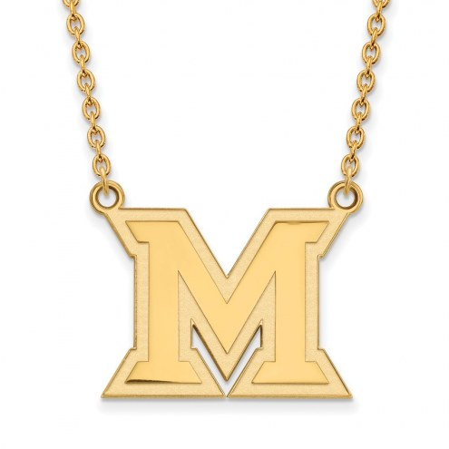 Miami of Ohio RedHawks Sterling Silver Gold Plated Large Pendant Necklace