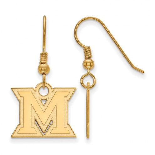Miami of Ohio RedHawks Sterling Silver Gold Plated Small Dangle Earrings