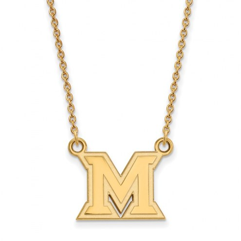 Miami of Ohio RedHawks Sterling Silver Gold Plated Small Pendant Necklace