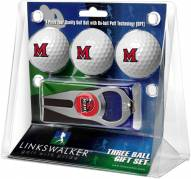 Miami Of Ohio Redhawks Golf Ball Gift Pack with Hat Trick Divot Tool