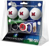 Miami Of Ohio Redhawks Golf Ball Gift Pack with Key Chain