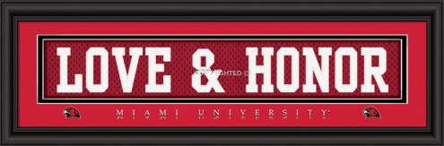 """Miami of Ohio RedHawks """"Love & Honor"""" Stitched Jersey Framed Print"""