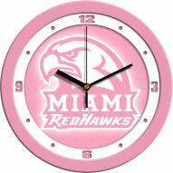 Miami of Ohio Redhawks Pink Wall Clock