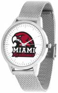 Miami Of Ohio Redhawks Silver Mesh Statement Watch