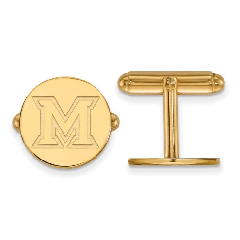 Miami of Ohio RedHawks Sterling Silver Gold Plated Cuff Links