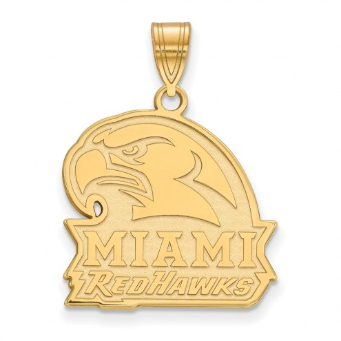 Miami of Ohio RedHawks Sterling Silver Gold Plated Large Pendant