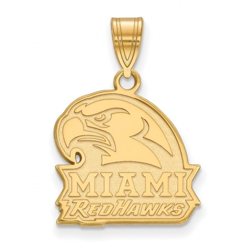 Miami of Ohio RedHawks Sterling Silver Gold Plated Medium Pendant