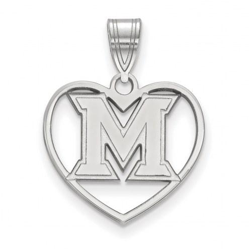 Miami of Ohio RedHawks Sterling Silver Heart Pendant