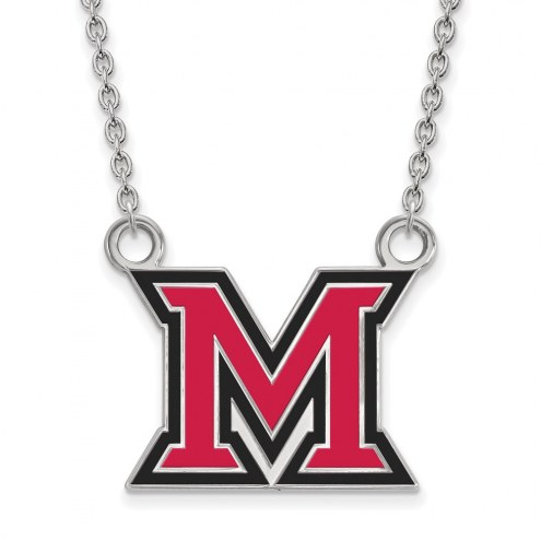 Miami of Ohio RedHawks Sterling Silver Large Enameled Pendant Necklace
