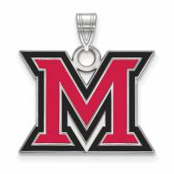 Miami of Ohio RedHawks Sterling Silver Large Enameled Pendant