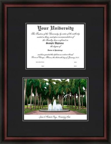 Miami Hurricanes Diplomate Framed Lithograph with Diploma Opening