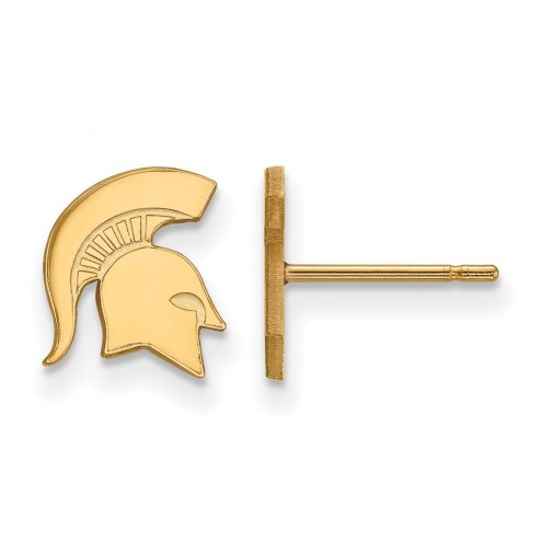 Michigan State Spartans Sterling Silver Gold Plated Extra Small Post Earrings