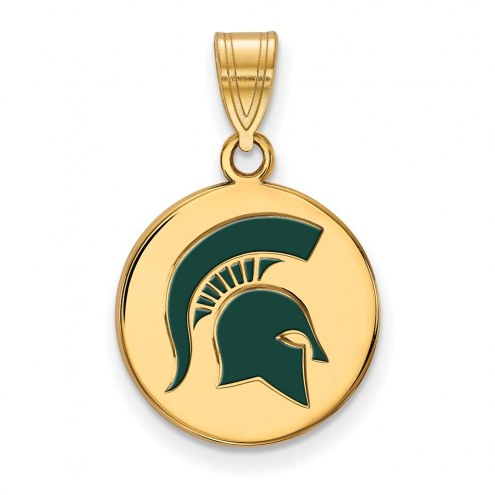 Michigan State Spartans Sterling Silver Gold Plated Medium Enameled Disc Pendant