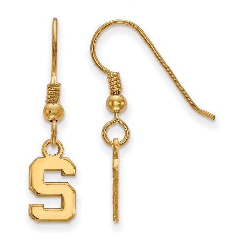 Michigan State Spartans NCAA Sterling Silver Gold Plated Extra Small Dangle Earrings