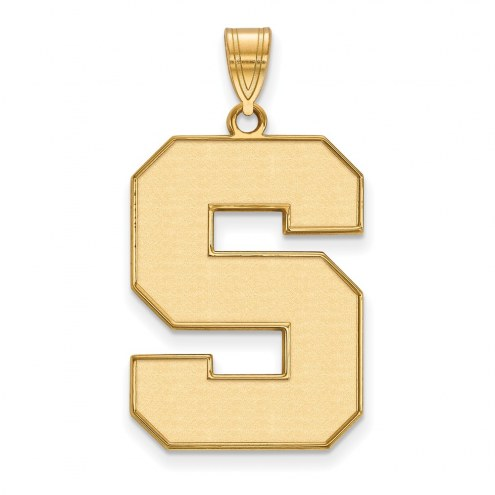 Michigan State Spartans Sterling Silver Gold Plated Extra Large Enameled Pendant