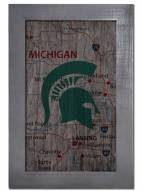 """Michigan State Spartans 11"""" x 19"""" City Map Framed Sign"""