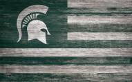 """Michigan State Spartans 11"""" x 19"""" Distressed Flag Sign"""