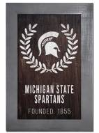 "Michigan State Spartans 11"" x 19"" Laurel Wreath Framed Sign"