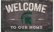 """Michigan State Spartans 11"""" x 19"""" Welcome to Our Home Sign"""