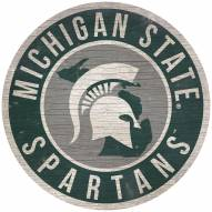 """Michigan State Spartans 12"""" Circle with State Sign"""