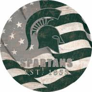 """Michigan State Spartans 12"""" Team Color Flag Circle Sign"""