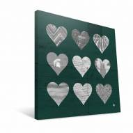 "Michigan State Spartans 12"" x 12"" Hearts Canvas Print"