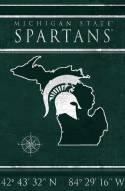 "Michigan State Spartans 17"" x 26"" Coordinates Sign"