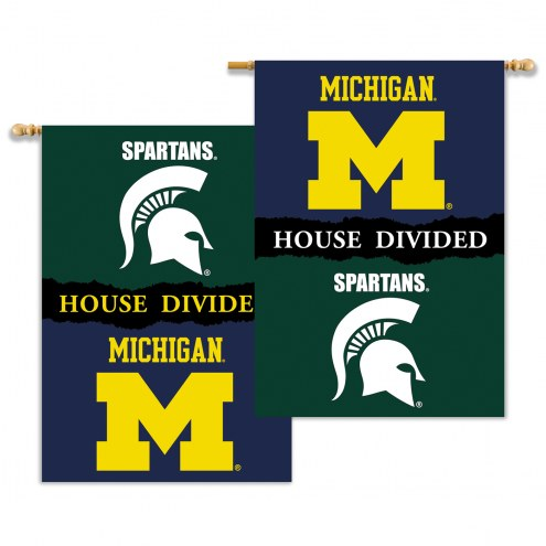 """Michigan State Spartans 28"""" x 40"""" House Divided Banner"""