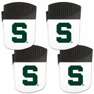 Michigan State Spartans 4 Pack Chip Clip Magnet with Bottle Opener