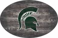 """Michigan State Spartans 46"""" Distressed Wood Oval Sign"""