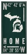 "Michigan State Spartans 6"" x 12"" Coordinates Sign"