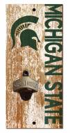 """Michigan State Spartans 6"""" x 12"""" Distressed Bottle Opener"""