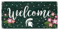 """Michigan State Spartans 6"""" x 12"""" Floral Welcome Sign"""