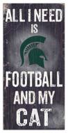 """Michigan State Spartans 6"""" x 12"""" Football & My Cat Sign"""
