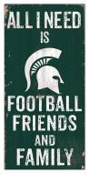 """Michigan State Spartans 6"""" x 12"""" Friends & Family Sign"""