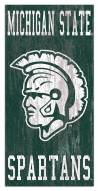 """Michigan State Spartans 6"""" x 12"""" Heritage Logo Sign"""