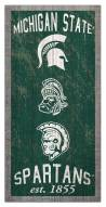"""Michigan State Spartans 6"""" x 12"""" Heritage Sign"""