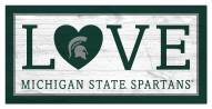 """Michigan State Spartans 6"""" x 12"""" Love Sign"""
